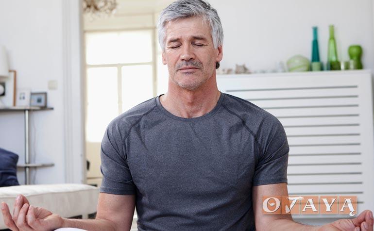 German man practicing OJAYA meditation technique.
