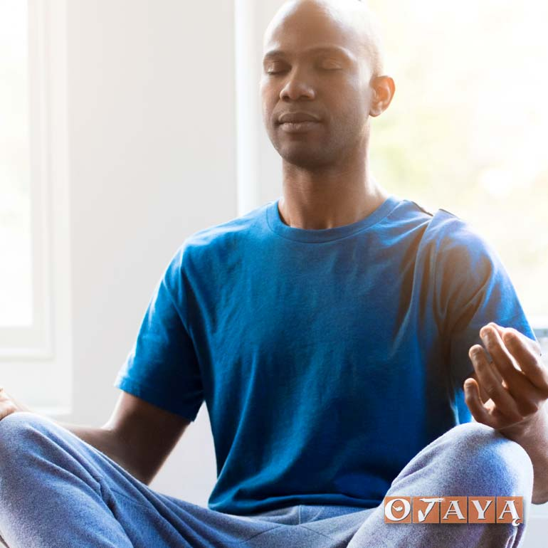 African American man meditates for peace and serenity